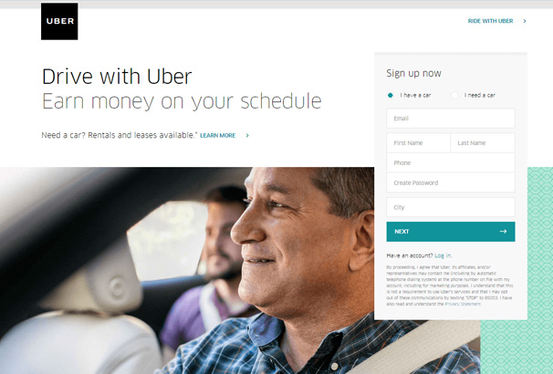 Uber's Landing Page for Signing up New Drivers